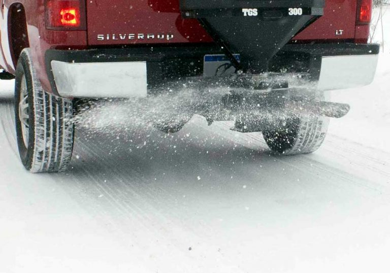 truck spreading salt